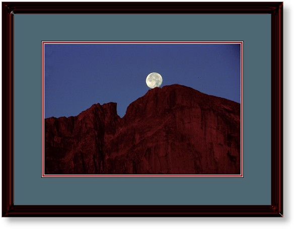 This Image is of The Full Moon Seting Over Longs Peak, Rocky Mountain National Park, Colorado