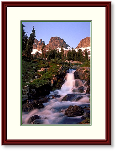 This Image is of a Small Waterfall Cascading Above Lake Ediza in the Minarets, Ansel Adams Wilderness, California